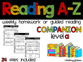 Reading A-Z  Homework or Gudied Reading Companion for Level A Readers