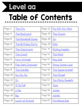 Reading A-Z Homework or Gudied Reading Companion for Level aa Readers