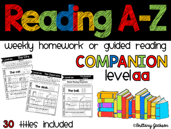 Reading A-Z Homework or Gudied Reading Companion for Level