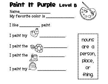Reading A-Z Level B Paint It Purple