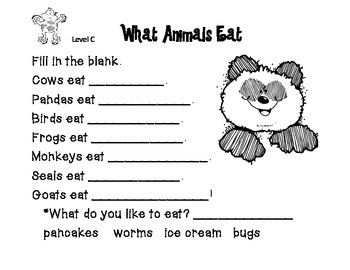 Reading A-Z Level C What Animals Eat