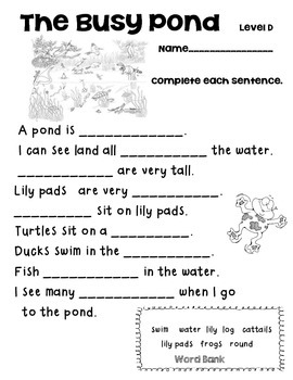 Reading A-Z Level D The Busy Pond