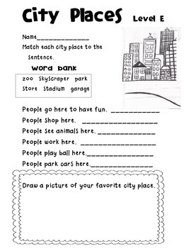 Reading A-Z Level E City Places