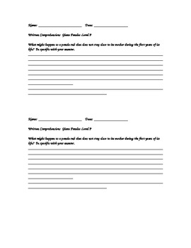 Reading A-Z Written Comprehension Questions