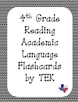 Reading Academic Vocabulary Cards 4th grade TEKS (Black Chevron)