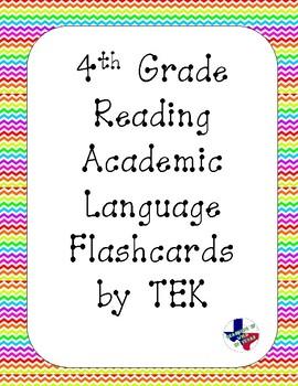 Reading Academic Vocabulary Cards 4th grade TEKS (Rainbow Chevron)