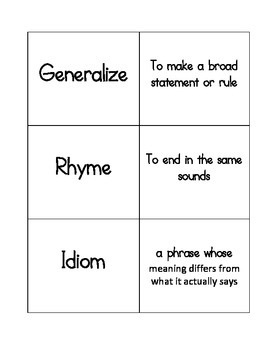 Reading Academic Vocabulary Match Game/Flash Cards STAAR, TEKS, CC