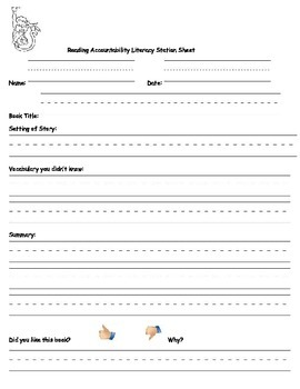 Reading Accountability Literacy Station Sheet
