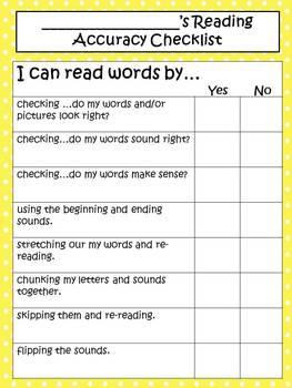 Reading Accuracy Checklist