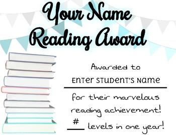 EDITABLE Reading Achievement Award FREEBIE