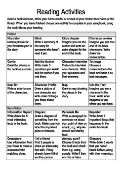 Reading Activities Grid