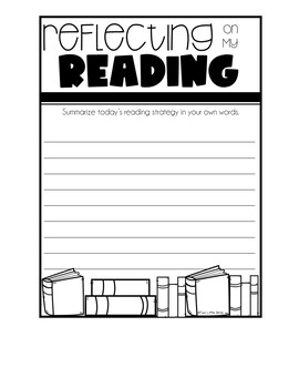 Reading Activities: Reading Exit Tickets, Reflecting on Reading Task Cards