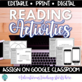 Reading Activities for Book Clubs, Lit Circles, & Independent Reading