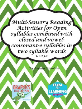 Reading Activities for open syllables with other syllable