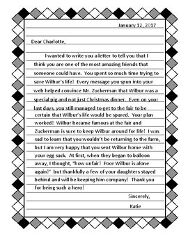 Reading Activity - Letter to Main Character