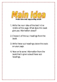 Reading Activity Task Card - main idea