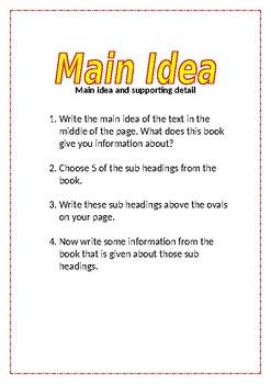 Reading Activity Task Card - main idea
