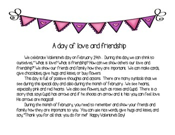 Reading Activity about Valentine's Day (English and Spanish)