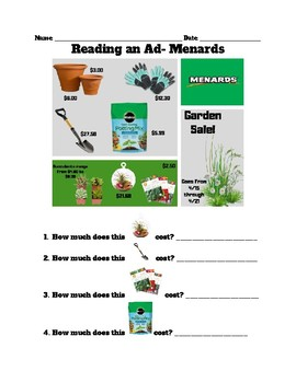 Reading Ads- Menards FREEBIE