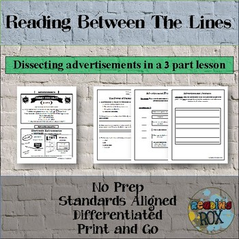 Reading Advertisements with 3 Lessons- Text Feature Review
