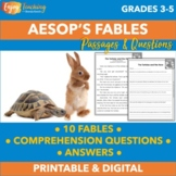 Fables Reading Comprehension Questions with Fables Passages (PDF & Google Drive)