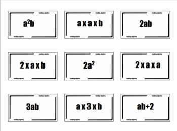 Reading Algebra: Card Sort + Questions. (Intro to variables & notation)