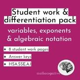 Reading Algebra - Intepret & Create Equivalent Variable Ex