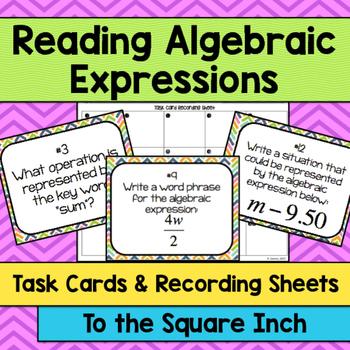 Reading Algebraic Expressions Task Cards