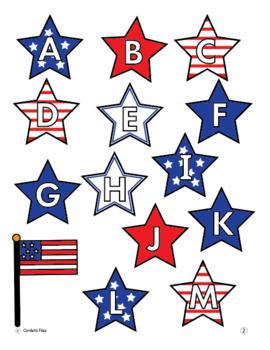 Reading- Alphabet Letter Recognition File Folder Game, Centers, Patriotic  Theme
