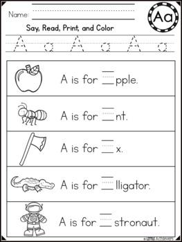 Alphabet Worksheets - Sentences for Letter Recognition and Fluency