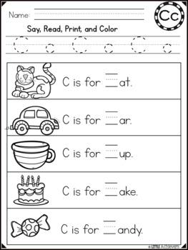 Alphabet Sentences - Letter Recognition Worksheets