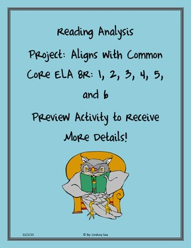 Reading Analysis Project Aligned with Common Core Standards
