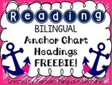 Reading Anchor Chart Headings BILINGUAL FREEBIE