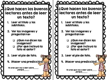 Reading Anchor Charts English and Spanish