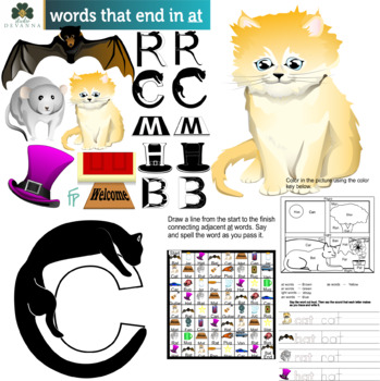 Reading And Writing Rhyming Words Clipart And Worksheets Bundle