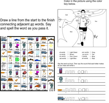 Reading And Writing Words That End In An Clipart And Worksheets