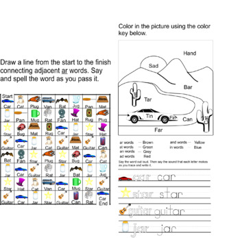 Reading And Writing Words That End In Ar Clipart And Worksheets