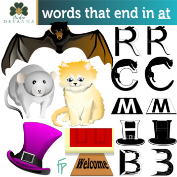 Reading And Writing Words That End In At Clipart And Worksheets