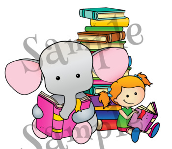 Reading Animals. Clipart. BLACK AND WHITE & Color Bundle. {Lilly Silly Billy}