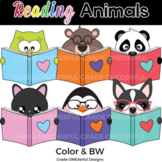 Reading Animals Clipart: Cute Animals with Books