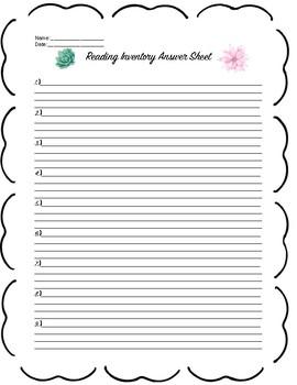 Reading Answer sheet