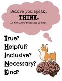 Before You Speak Think Poster for Bulletin Board or Wall