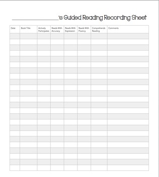 Reading Assessment Binder Forms