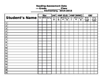 Reading Assessment Data Form Editable