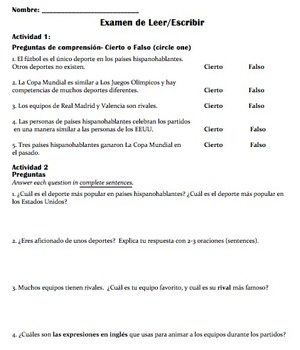 Reading / Assessment: El fútbol