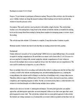 Reading Assessment (NO PREP NECESSARY)