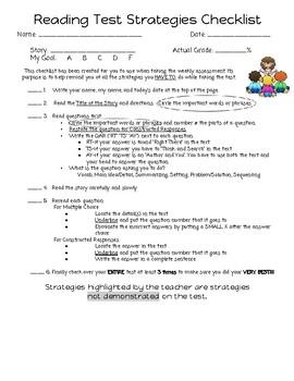 Reading Assessment Strategies Checklist