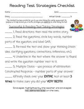 Reading Assessment Strategies Checklist