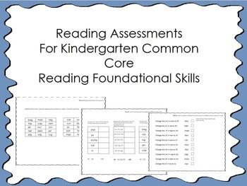 Reading Assessments for Kindergarten Common Core Foundatio