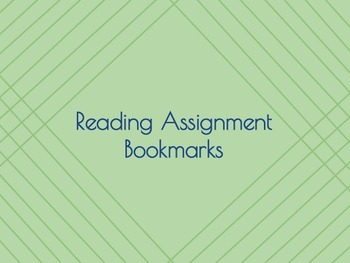 Reading Assignment Bookmarks